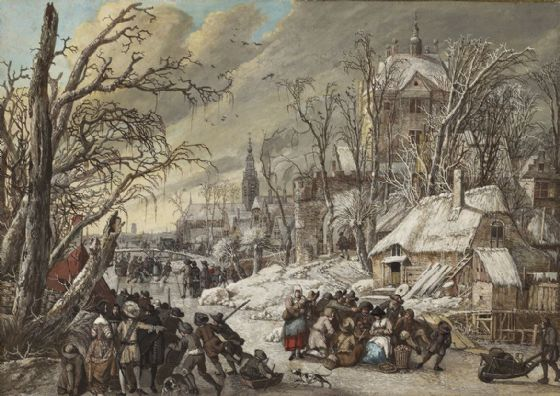 Battem, Gerrit: Figures on a Frozen Canal. Fine Art Print/Poster. Sizes: A4/A3/A2/A1 (0048)